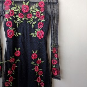 Lovers + Friends Dresses - Lovers + Friends Morella Rose Mesh Black Dress